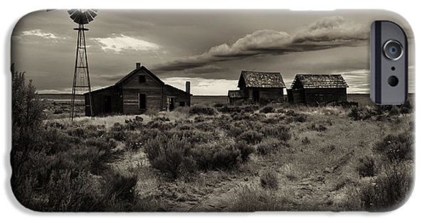 Ruin iPhone Cases - Lonely House on the Prairie iPhone Case by Mike  Dawson