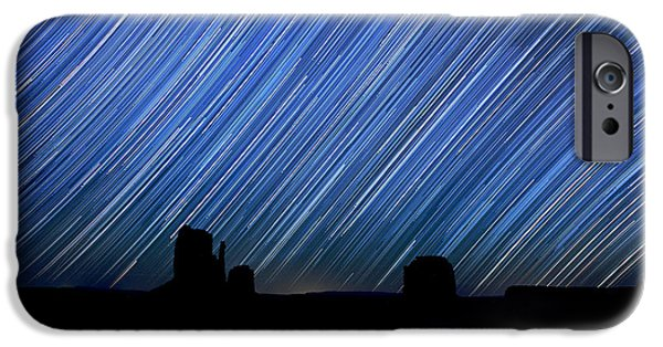 Nation Pyrography iPhone Cases - Long Exposure Star Trail Image at Night iPhone Case by Katrina Brown