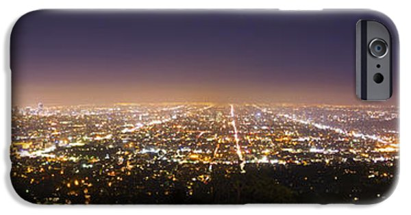 Angel Blues iPhone Cases - Los Angeles Skyline iPhone Case by Jerome Obille