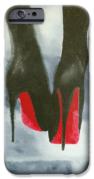 Recently Sold -  - Red Abstract iPhone Cases - Louboutin At Midnight iPhone Case by Rebecca Jenkins