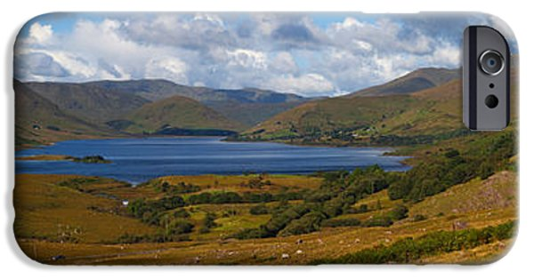 Mountain Road iPhone Cases - Lough Nafooey, Shot From The County iPhone Case by Panoramic Images