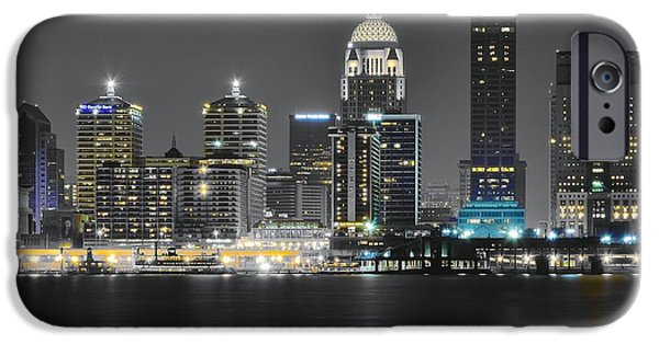 Inner World iPhone Cases - Night Lights of Louisville iPhone Case by Frozen in Time Fine Art Photography