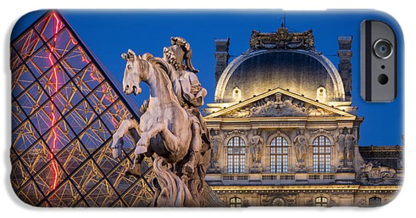 Night Lamp iPhone Cases - Louvre Twilight iPhone Case by Brian Jannsen