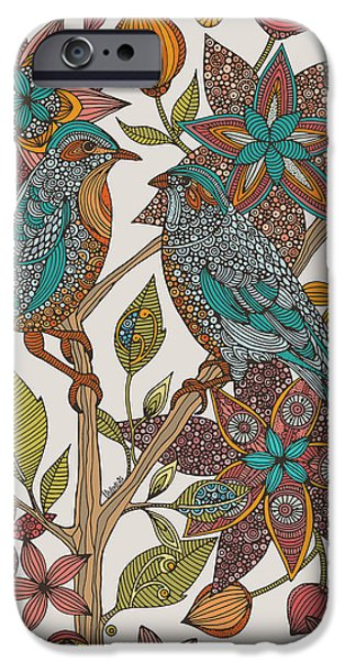 Cute Illustration iPhone Cases - Love Birds 2 iPhone Case by Valentina