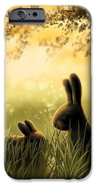 Rabbit iPhone Cases - Love iPhone Case by Veronica Minozzi