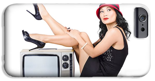 Bare Shoulder iPhone Cases - Lovely asian pinup girl posing on vintage tv set iPhone Case by Ryan Jorgensen