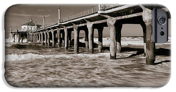 Built Structure iPhone Cases - Low Angle View Of A Pier, Manhattan iPhone Case by Panoramic Images