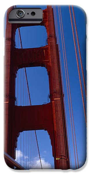 Connection iPhone Cases - Low Angle View Of A Suspension Bridge iPhone Case by Panoramic Images