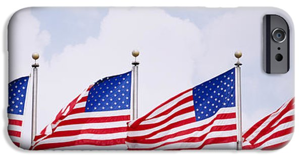 American Flag iPhone Cases - Low Angle View Of American Flags iPhone Case by Panoramic Images