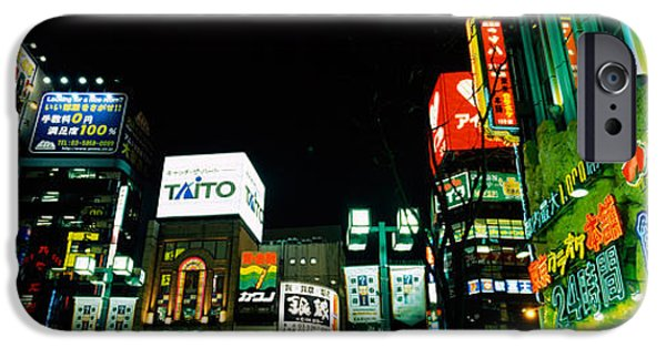 Shinjuku iPhone Cases - Low Angle View Of Buildings Lit iPhone Case by Panoramic Images