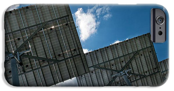 Technology iPhone Cases - Low Angle View Of Solar Panels iPhone Case by Panoramic Images