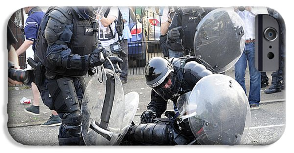 Police Officer iPhone Cases - Loyalist Protesters Attack Police Lines iPhone Case by Andrew Chittock