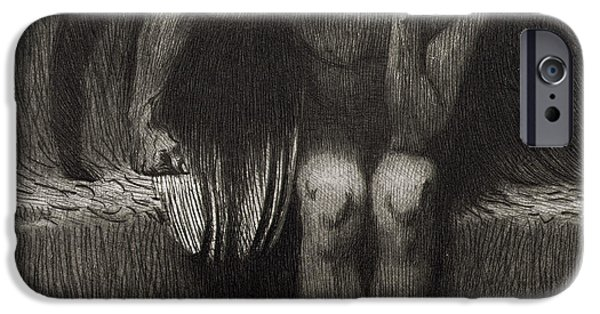 Thought Drawings iPhone Cases - Lucifer iPhone Case by Franz von Stuck