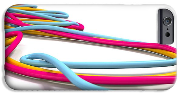 Connection Digital Art iPhone Cases - Luminous Cables Closeup iPhone Case by Allan Swart