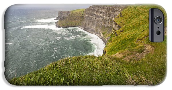 Prince Harry iPhone Cases - Lush Grass at Cliffs of Moher in Ireland iPhone Case by Jan Sieminski