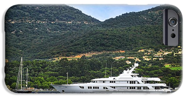 Yachts iPhone Cases - Luxury yacht at the coast of French Riviera iPhone Case by Elena Elisseeva