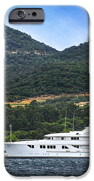 Luxury yacht at the coast of French Riviera iPhone Case by Elena Elisseeva
