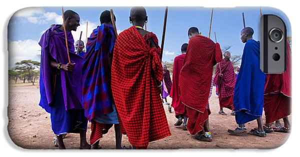 Recently Sold -  - East Village iPhone Cases - Maasai men in their ritual dance in their village in Tanzania iPhone Case by Michal Bednarek