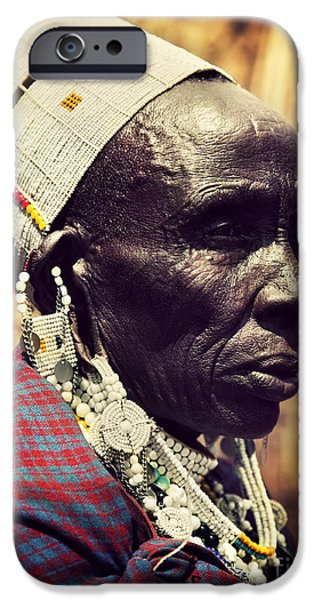 East Village iPhone Cases - Maasai old woman portrait in Tanzania iPhone Case by Michal Bednarek