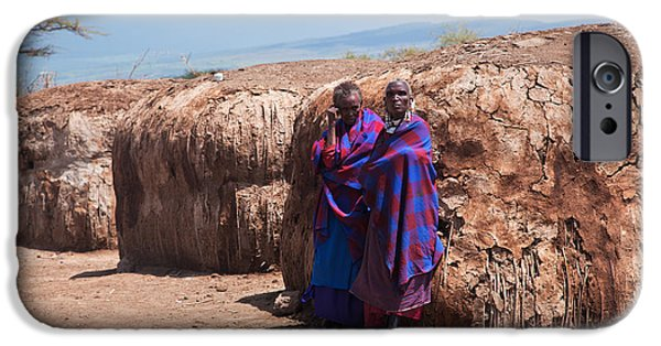 East Village iPhone Cases - Maasai people in their village in Tanzania iPhone Case by Michal Bednarek
