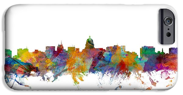 Wisconsin iPhone Cases - Madison Wisconsin Skyline iPhone Case by Michael Tompsett