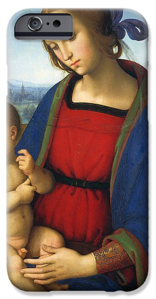 Renaissance iPhone Cases - Madonna and Child iPhone Case by Pietro Perugino