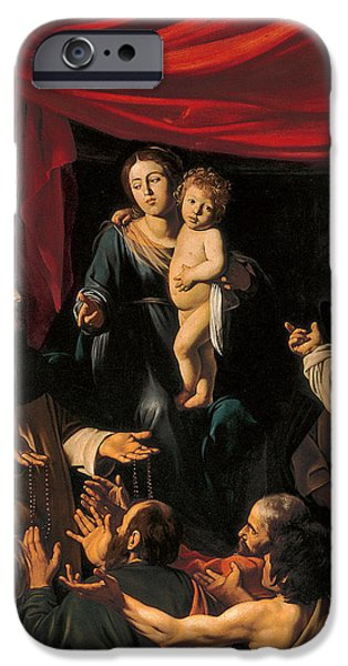 Child Jesus Paintings iPhone Cases - Madonna of the Rosary iPhone Case by Caravaggio