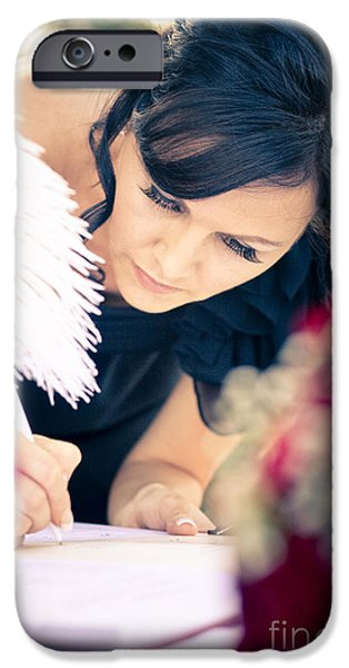 Sign-writing iPhone Cases - Maid Of Honour Signing Wedding Registar iPhone Case by Ryan Jorgensen