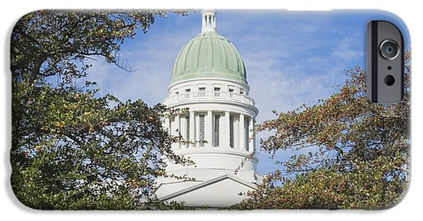 Historic Site iPhone Cases - Maine State Capitol Building In Augusta iPhone Case by Keith Webber Jr