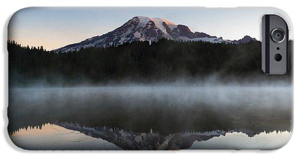 Mt Rainier iPhone Cases - Majestic Dawn iPhone Case by Mike Dawson