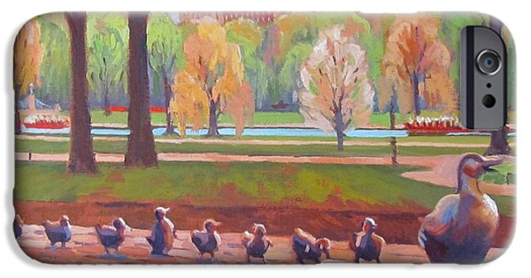 Boston iPhone Cases - Make Way for Ducklings iPhone Case by Dianne Panarelli Miller