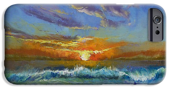 Evening iPhone Cases - Malibu Beach Sunset iPhone Case by Michael Creese