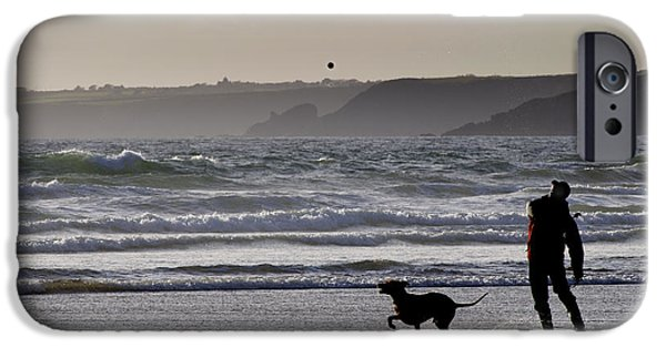 Dog With Ball iPhone Cases - Man and Dog iPhone Case by Colin Woods
