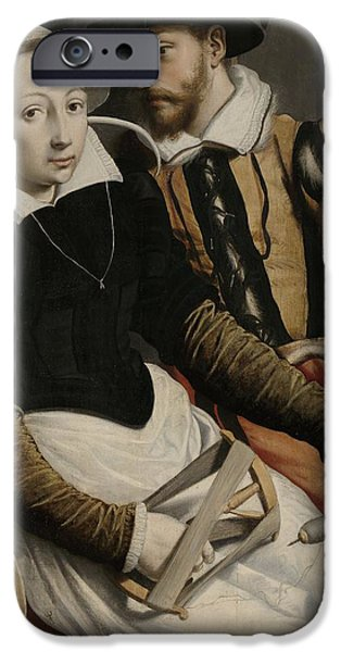 Domestic Scene iPhone Cases - Man and woman at a spinning wheel iPhone Case by Pieter Pietersz