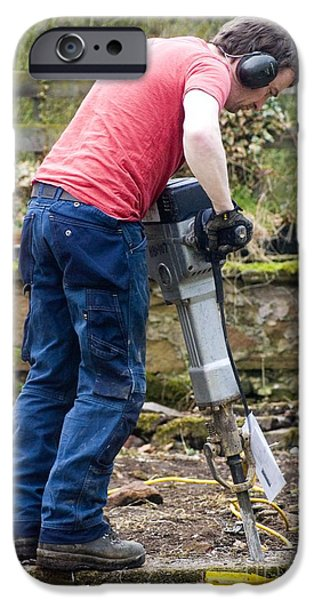 Work Tool iPhone Cases - Man Breaking Concrete With A Jack Hammer iPhone Case by Mark Williamson
