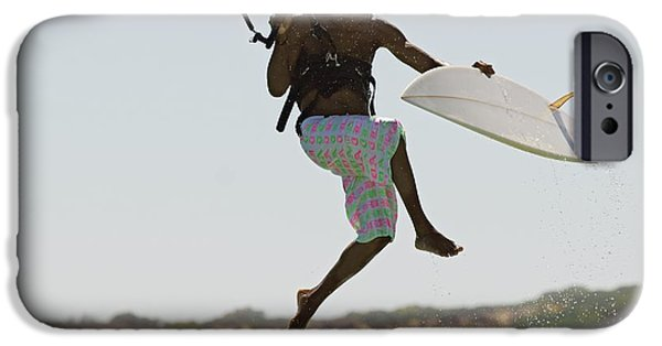 Kiteboarding iPhone Cases - Man Kitesurfing iPhone Case by Ben Welsh