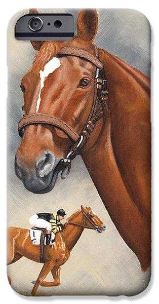 Horse Racing iPhone Cases - Man OWar iPhone Case by Pat DeLong