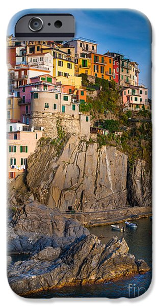 Terraces iPhone Cases - Manarola Afternoon iPhone Case by Inge Johnsson