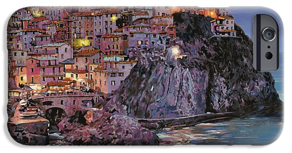 Fishermen iPhone Cases - Manarola at dusk iPhone Case by Guido Borelli