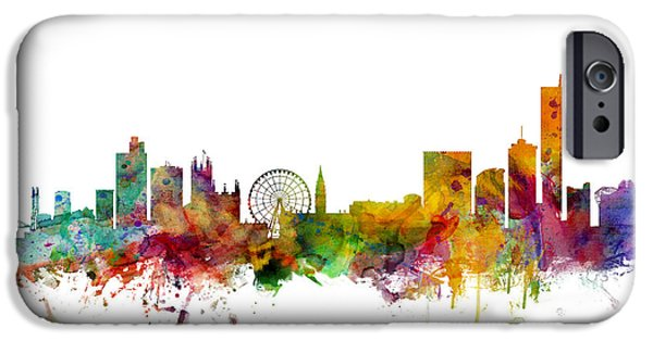 Great Britain iPhone Cases - Manchester England Skyline iPhone Case by Michael Tompsett