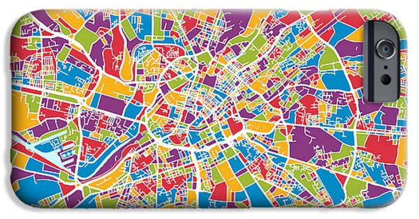 Abstract Watercolor iPhone Cases - Manchester England Street Map iPhone Case by Michael Tompsett