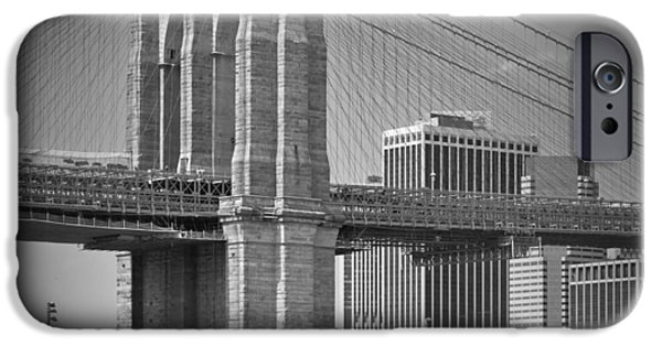 Hudson River iPhone Cases - Manhattan Brooklyn Bridge iPhone Case by Melanie Viola
