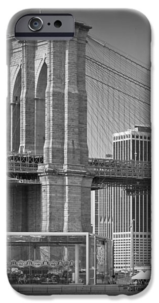 Brooklyn Bridge Digital Art iPhone Cases - Manhattan Brooklyn Bridge iPhone Case by Melanie Viola