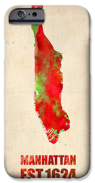 Manhattan Watercolor Map iPhone Case by Naxart Studio