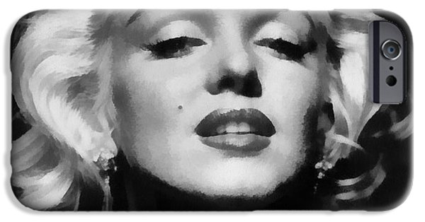 1950s Movies iPhone Cases - Marilyn Monroe - Black and White  iPhone Case by Nomad Art And  Design