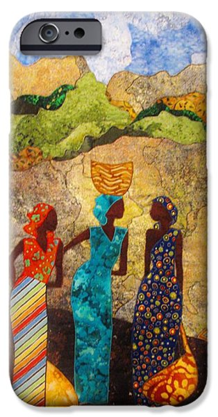 People Tapestries - Textiles iPhone Cases - Market Day Ladies iPhone Case by Lynda K Boardman