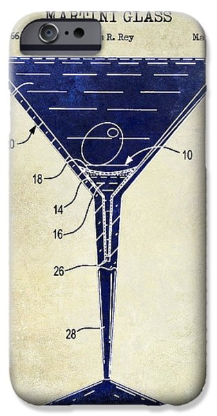Stir iPhone Cases - Martini Glass Patent Drawing Two Tone  iPhone Case by Jon Neidert