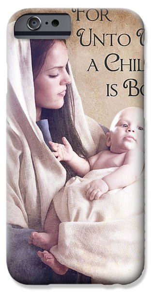 Mary and Jesus iPhone Case by Cindy Singleton