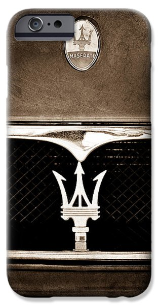 Jill Reger Photography iPhone Cases - Maserati Hood - Grille Emblems iPhone Case by Jill Reger