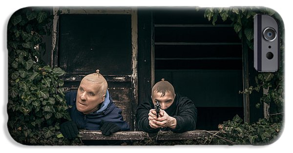 Accomplice iPhone Cases - Masked men with a gun iPhone Case by Jan Mika